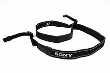 """.75"""" Wide Fiber Black, Leather Lined, Printed White """"Sony A"""" Camera Strap - EX"""