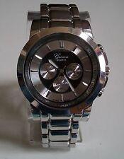 Men's Designer dressy look silver finish metal bracelet fashion watch