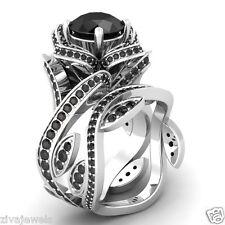 Certified Flower Lotus Black Diamond 14K White Gold Engagement Wedding Ring Set