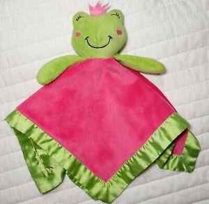 BELLE Pink Green FROG Security Blanket Lovey Satin Trim Backside Princess Girl