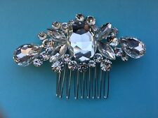 CRYSTAL HAIR COMB, SILVER VINTAGE INSPIRED, RHINESTONE FOR WEDDING, BRIDE