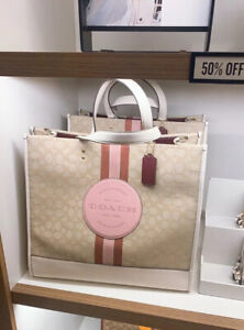 NWT Coach Dempsey Tote 40 In Signature Jacquard With Stripe And Coach Patch