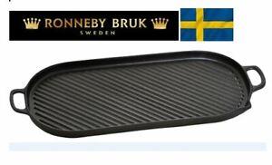Ronneby Bruk Cast Iron Grill pan Large 23x47 cm ( 9.05 x 18.50 Inch)