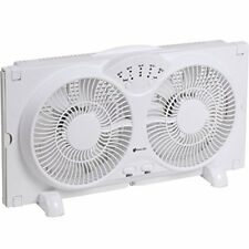 Avalon Twin Window Fan, High Velocity Reversible AirFlow, Adjustable Thermostat
