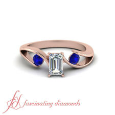 3/4 Carat Rose Gold Diamond And Sapphire Rings For Women With Emerald Cut GIA
