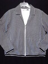Kim Rogers Stretch Jacket Top Womens Sz M Checked Cardigan Black White Zip Front