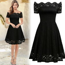 New Women's Vintage Floral Lace Short Sleeve Bridesmaid Wedding Party Dress