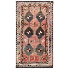 "3'10""x6'9"" Faded Red Farsian Qashqairaz Vintage Worn Wool Handknotted Rug R57889"