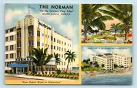 Miami Beach, FL - c1940s LINEN POSTCARD - ART DECO STYLE HOTEL - THE NORMAN - B2