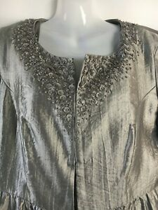 Mother of the bride dress suit 14 grey silver La Scala beaded two piece wedding^