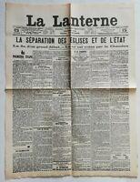N908 La Une Du Journal La lanterne 5 juillet 1905 la fin d'un grand débat
