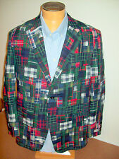 Hickey Freeman 100% Cotton Patchwork Madras 2 Button Sport Coat NWT 44R $1195