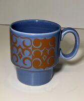 Vtg Royal Alma Mug Ironstone Staffordshire Blue Orange Cup Made in England Rare