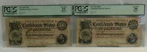 PCGS 1864 $500 Confederate States of America Bank Notes w/ Consecutive Serial #s