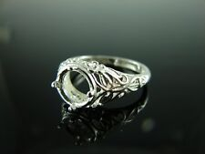 6059 Ring Setting Sterling Silver Size 8.75, 8 mm Round Gemstone