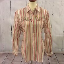 Alfred Dunner Women's Long Sleeve Shirt Embroidery Animals Bunny Flowers Size 14