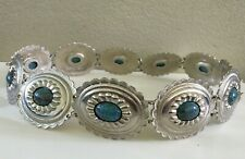 """Vintage Accesocraft Nyc Concho Faux Turquoise Silver Metal Belt Southwestern 31"""""""