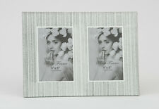 "Double 4 x 6"" Photo Picture Frame Silver Glitter Sparkle Mirrored Glass"