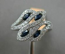 Expensive Engagement Wedding Sweeping Bypass Ring 14K White Gold 3.2 Ct Sapphire