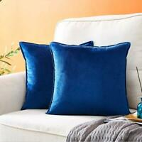 Pack of 2 Velvet Decorative Throw Pillow Covers for Couch, Soft Soild Square Cus