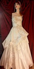 Oleg Cassini Womens Wedding Gown Soft white Beaded Sequins Pearls Dress Size 6