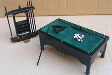 1:12 Black Pool Table Balls 6 x Cues Dolls House Miniature Pub Snooker Pool