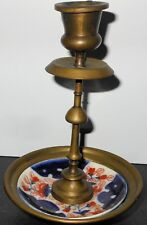 Antique Brass Candlestick in Gaudy Cobalt Blue and Iron Red Floral Plate