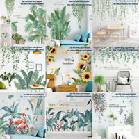 Tropical Leaves Green Plant Wall Stickers PVC Decal Nursery Art Mural Home Decor