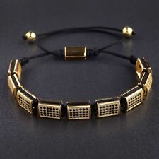 Fashion Yellow Gold-Tone Black Cubic Zirconia Alloy Beaded Women Men Bracelets