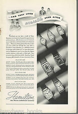 1936 HAMILTON WATCH advertisement, Men's & Women's wrist watches as a gift
