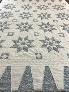 "Vintage Hand Crafted &  Quilted Sunflower Star Quilt 80x78"" twin full #681"