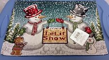 "Set of 4 Tapestry Placemats, 13"" x 19"" CHRISTMAS, WINTER, 2 SNOWMEN LET IT SNOW"