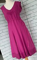 JIGSAW Pink Silk & Linen Midi Tea Dress Sz 10 UK Summer With Belt / b42
