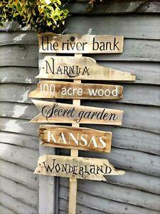 Rustic Wedding Fairytale Direction Sign Personalised Garden Wonderland plaque