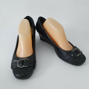 'PORTLAND' VGC SIZE '10' BLACK LEATHER WEDGE HEEL PLEATED CROSS BAND SHOES
