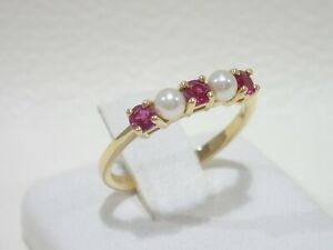 TIFFANY & CO. 18k yellow gold ring with pearls & rubies size 6