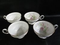 Set 4 Floral Hutschenreuther Selb Germany Sylvia Porcelain China Tea Cups (AD)