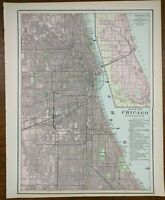 "Vintage 1900 CHICAGO ILLINOIS Map 11""x14"" ~ Old Antique BLUE ISLAND WAKE FOREST"