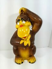 Vintage 1975 Pressman Plastic Orangutan Ape Monkey With Banana Coin Piggy Bank