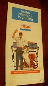 Exxon Idaho Montana Wyoming gas oil station vintage 1970's road map #MB