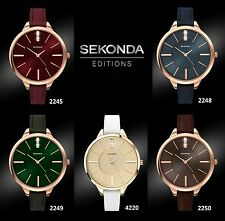 Sekonda Faux Leather Strap Polished Wristwatches