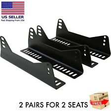 2 PAIRS Side Mount Seat Brackets For 2 Bucket Racing Seats (Black)