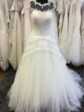 Beading Lace Scoop Neck Cap Sleeve Wedding Dresses