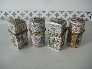 """4 Chinese WY Porcelain Lidded Trinket Boxes 3"""" High"""