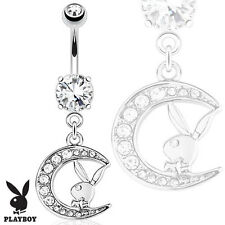 Prong Set CZ Surgical Steel Belly Bar With Playboy Bunny And Dangle Paved Moon