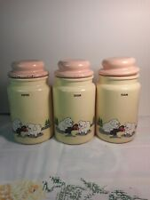 Vintage Pigs Jars/ Canisters with Lids Set of 3 Pink and Creme Shabby