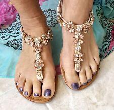 Diamantes de imitación para mujeres Cristal Flip Flop Playa Sandalia Gladiador Oro Rosa 38, 5 ❤