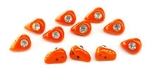 More details for vintage coral red glass and rhinestone buttons set of 11.