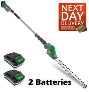 CORDLESS HEDGE TRIMMER LONG REACH POLE CUTTER TELESCOPIC 2 BATTERIES INCLUDED