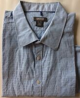 Kenneth Cole Reaction Men Dress Shirt XXL Blue Stripe Long Sleeve 100% Cotton